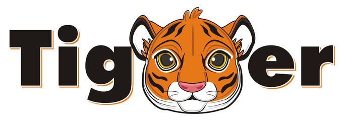 animal, cartoon, wild, cat, zoo, circus, dangerous, illustration, predator, hunter, tiger, horoscope, orange, stripes, striped, muzzle, middle, word