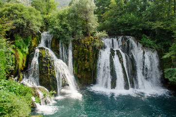 Waterfalls of Una river in Martin Brod, National park Una - Bosnia and Herzegovina