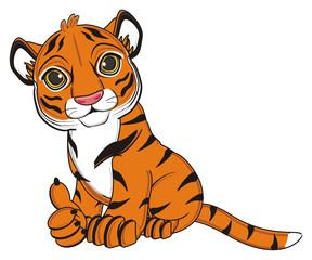 animal, cartoon, wild, cat, zoo, circus, dangerous, illustration, predator, hunter, tiger, horoscope, orange, stripes, striped, cool, gesture