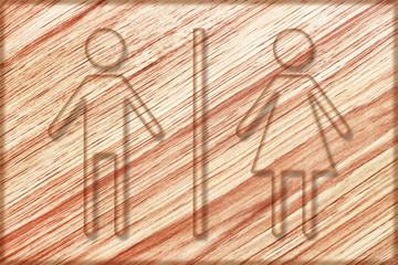 restroom sign on wooden board