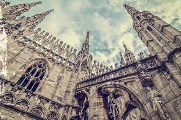 Old photo with architectonic details from Milan Cathedral