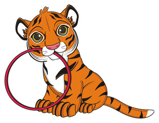 animal, cartoon, wild, cat, zoo, circus, dangerous, illustration, predator, hunter, tiger, horoscope, orange, stripes, striped, sit, hold, hoop