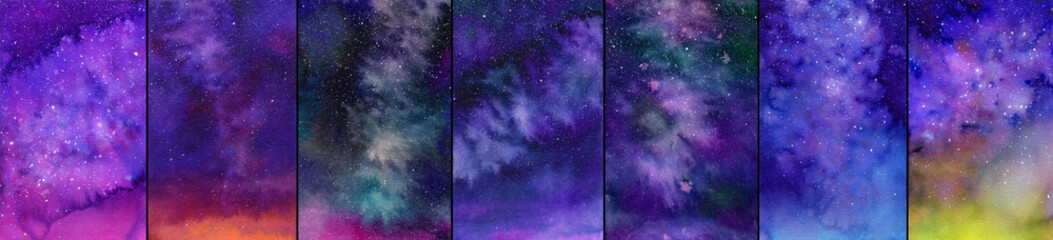 Galaxy or night sky set. Watercolor illustrations