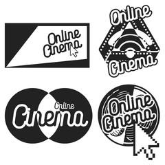 Vintage online cinema emblems