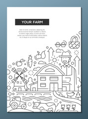 Your Farm - line design brochure poster template A4