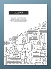 Allergy - line design brochure poster template A4