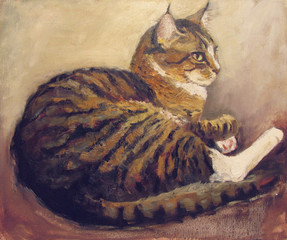 Striped cat, oil painting on canvas, beige and brown background
