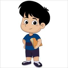 Cute kid holding a book.