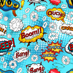 Comic speech bubbles seamless pattern with  explosions and sound effects. Vector illustration