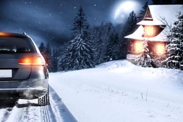 winter car and winter landscape