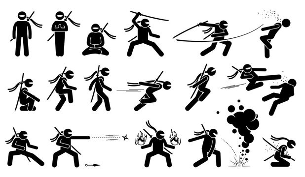 Ninja assassin movement and fighting skills with Japanese weapon sword and shuriken to attack. The ninja also uses ninjutsu technique to summon fire and cast smoke grenade. Kamikaze when he fails.