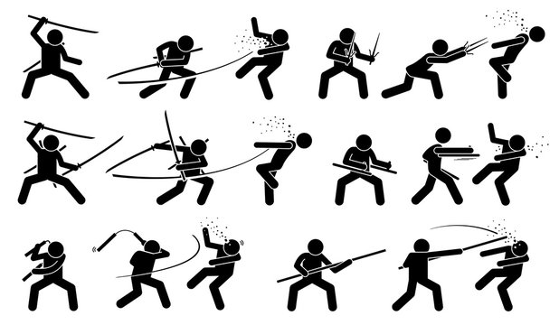 Man attacking opponent with traditional Japanese melee fighting weapons. These weapons include sword, sai, tonfa, nunchaku, and bo staff.