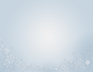 Bright Blue Winter Background with snowflakes