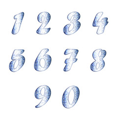 Set of numbers in white-blue tones