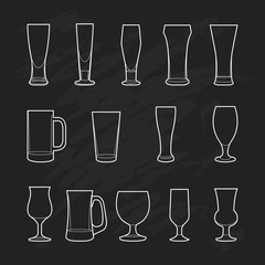 Craft Beer Glassware on black background. Beer outline vector il