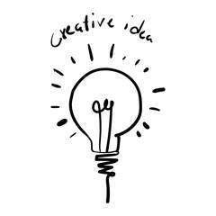 Vector light bulb icon with concept of idea. Creative idea vecto