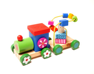 Wooden train puzzle with coach