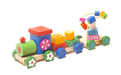Wooden train puzzle with coaches