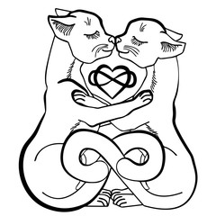 Vector illustration of cats in love infinity black and white