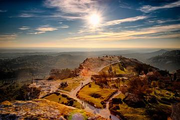 Coucher de soleil sur le château des Baux de Provence