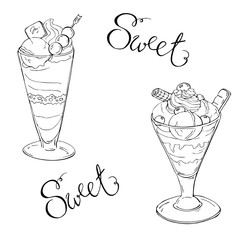 Parfait set sketch with hand lettering. Hand drawn vector illustration.