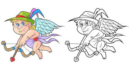 Cartoon cute Cupid flies in search of a target