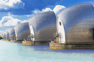Movable flood barrier in the River Thames. . London, UK Wall mural