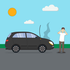 Man with broken car. Car accident. Transport with motor defect. Confused and sad man standing in the middle of the road. Sunny landscape.