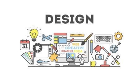 Design concept illustration on white. Idea of making design products. Design word with many icons as calendar, light bulb, pencils and more.