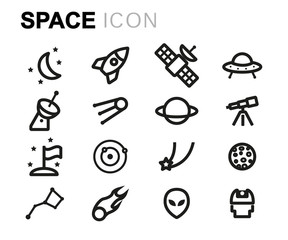 Vector line space icons set