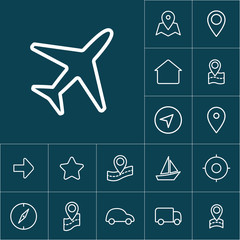thin line plane icon on blue background, navigation set