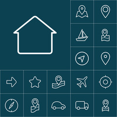 thin line home, house icon on blue background, navigation set