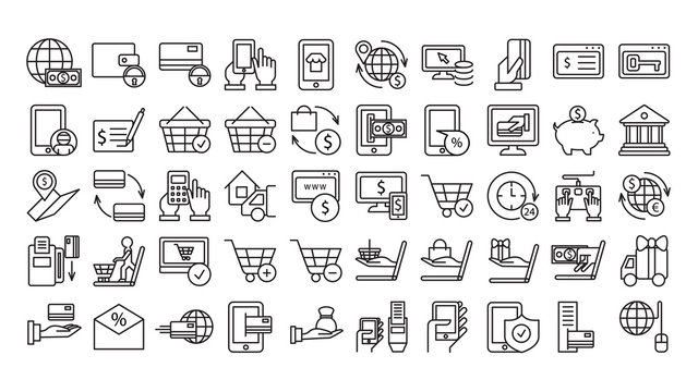 Online payments icons set on white background. Money, tablet, basket and other icons.