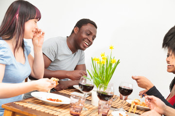 Friends Having A Dinner Party