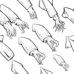 squids pattern including seamless on the white background. Vinta