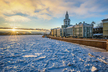View on Kunstkamera museum and Neva river in winter, St Petersburg, Russia
