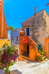 Wall Mural - House with flower of Capoliveri village in Elba island, Tuscany, Italy, Europe.