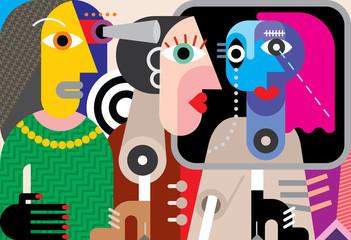 Keuken foto achterwand Abstractie Art Group of talking people