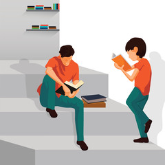 Boys Are Reading Book On Stairs. Love Reading Vector Illustration.