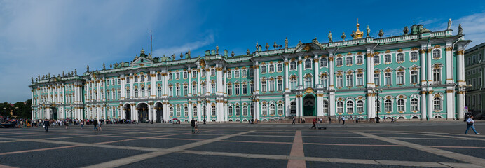 Panoramic view of Facade of the Winter Palace, house of the Hermitage Museum, iconic landmark in St. Petersburg, Russia