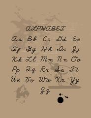 Hand drawn letters set. Handwritten vector alphabet isolated on craft background. Ink illustration. Trendy design element.