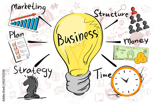 u0026quot business concept strategy marketing plan doodle hand draw sketch background vector illustration