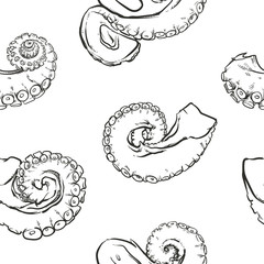 Tentacles pattern including seamless on white background. Hand d