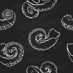 Tentacles pattern including seamless on black background. Hand d