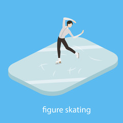 Figure skater in ice vector illustration isometric