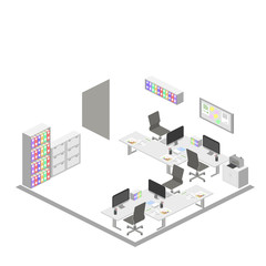 Isometric creative office interior design vector. Set of object