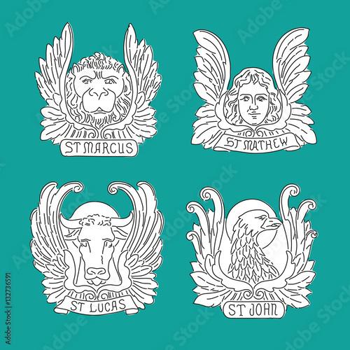 Four Evangelists Line Symbols Angel Lion Bull And Eagle Matthew