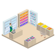 Grocery store isometric 3d vector illustration