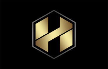 logo letter h hexagon in gold with metal outline