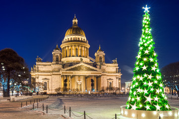 St Isaac's Cathedral and Christmas tree, St Petersburg, Russia